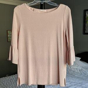 Pleione Blush Knit Bell Sleeve Top